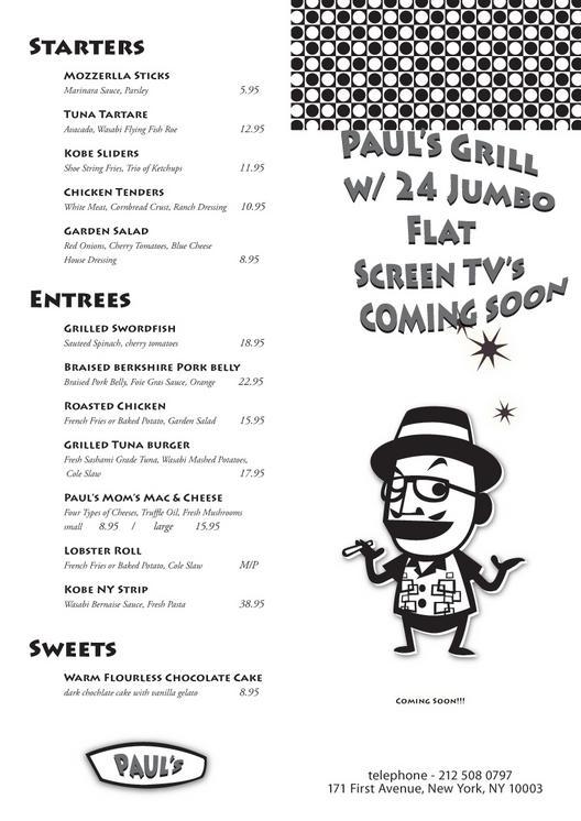 fake menu