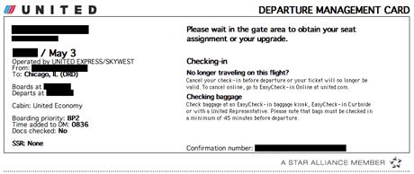 United Departure Management Card