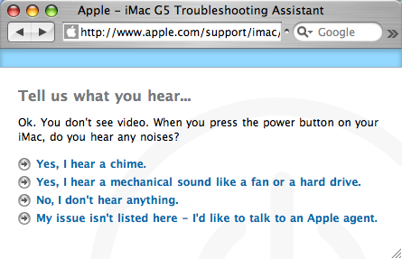 iMac G5 Troubleshooting Assistant
