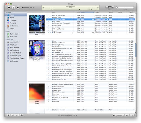 Screenshot of iTunes in Album view