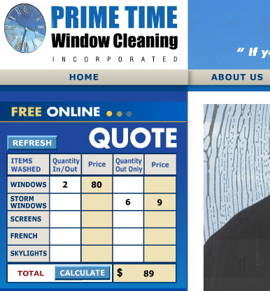 Screens around town metcheck prime time window cleaning for Window estimate