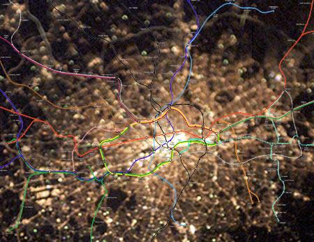 Satellite image + tube map